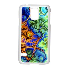 Abstract Fractal Batik Art Green Blue Brown Samsung Galaxy S5 Case (white) by EDDArt