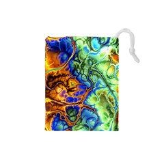 Abstract Fractal Batik Art Green Blue Brown Drawstring Pouches (small)  by EDDArt