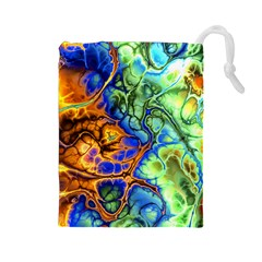 Abstract Fractal Batik Art Green Blue Brown Drawstring Pouches (large)  by EDDArt