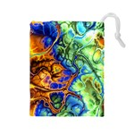 Abstract Fractal Batik Art Green Blue Brown Drawstring Pouches (Large)