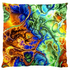 Abstract Fractal Batik Art Green Blue Brown Standard Flano Cushion Case (two Sides) by EDDArt