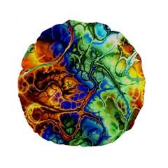 Abstract Fractal Batik Art Green Blue Brown Standard 15  Premium Flano Round Cushions by EDDArt