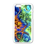 Abstract Fractal Batik Art Green Blue Brown Apple iPhone 6/6S White Enamel Case