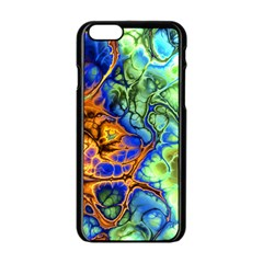 Abstract Fractal Batik Art Green Blue Brown Apple Iphone 6/6s Black Enamel Case by EDDArt