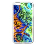 Abstract Fractal Batik Art Green Blue Brown Apple iPhone 6 Plus/6S Plus Enamel White Case
