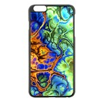 Abstract Fractal Batik Art Green Blue Brown Apple iPhone 6 Plus/6S Plus Black Enamel Case