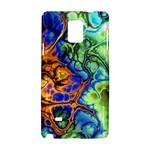 Abstract Fractal Batik Art Green Blue Brown Samsung Galaxy Note 4 Hardshell Case