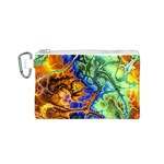 Abstract Fractal Batik Art Green Blue Brown Canvas Cosmetic Bag (S)