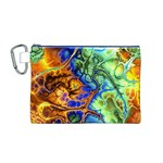 Abstract Fractal Batik Art Green Blue Brown Canvas Cosmetic Bag (M)