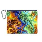Abstract Fractal Batik Art Green Blue Brown Canvas Cosmetic Bag (L)