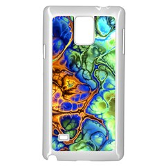 Abstract Fractal Batik Art Green Blue Brown Samsung Galaxy Note 4 Case (white) by EDDArt
