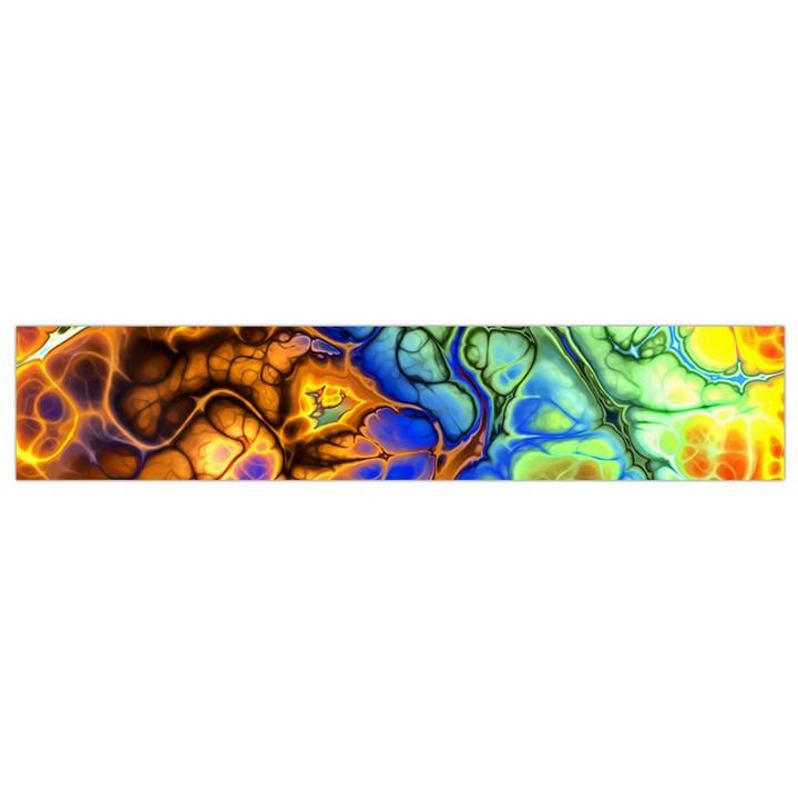 Abstract Fractal Batik Art Green Blue Brown Flano Scarf (Small)