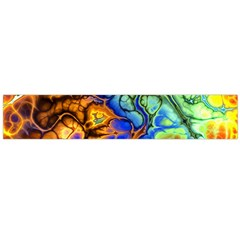 Abstract Fractal Batik Art Green Blue Brown Flano Scarf (large) by EDDArt