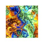 Abstract Fractal Batik Art Green Blue Brown Small Satin Scarf (Square)
