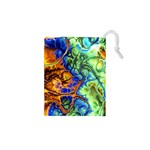 Abstract Fractal Batik Art Green Blue Brown Drawstring Pouches (XS)