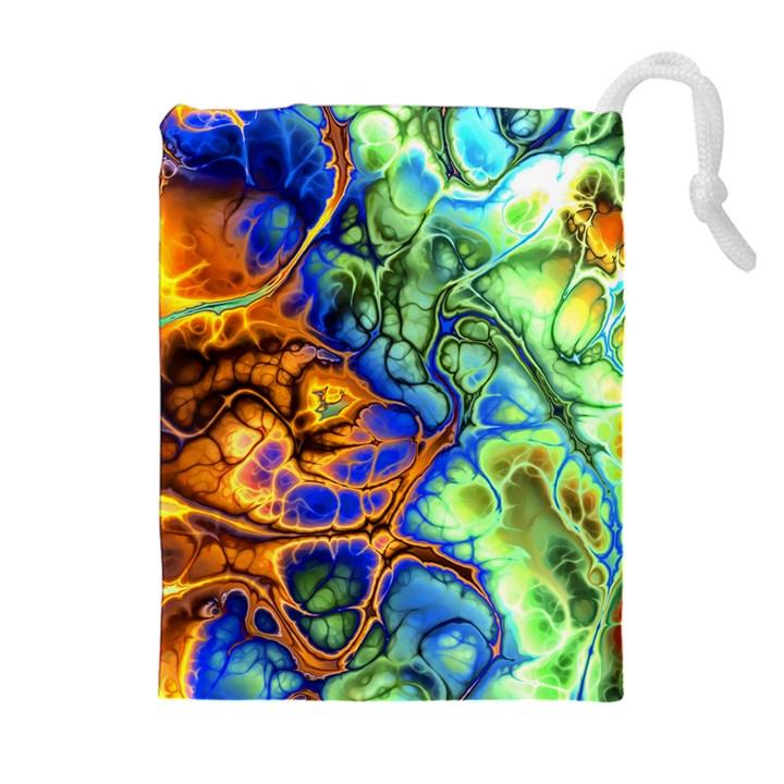 Abstract Fractal Batik Art Green Blue Brown Drawstring Pouches (Extra Large)