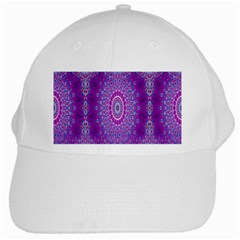 India Ornaments Mandala Pillar Blue Violet White Cap by EDDArt