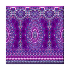 India Ornaments Mandala Pillar Blue Violet Tile Coasters by EDDArt