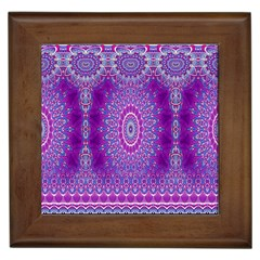 India Ornaments Mandala Pillar Blue Violet Framed Tiles by EDDArt