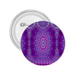 India Ornaments Mandala Pillar Blue Violet 2 25  Buttons by EDDArt