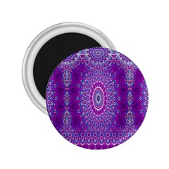 India Ornaments Mandala Pillar Blue Violet 2 25  Magnets by EDDArt