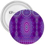 India Ornaments Mandala Pillar Blue Violet 3  Buttons