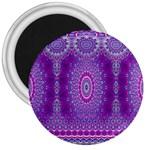 India Ornaments Mandala Pillar Blue Violet 3  Magnets
