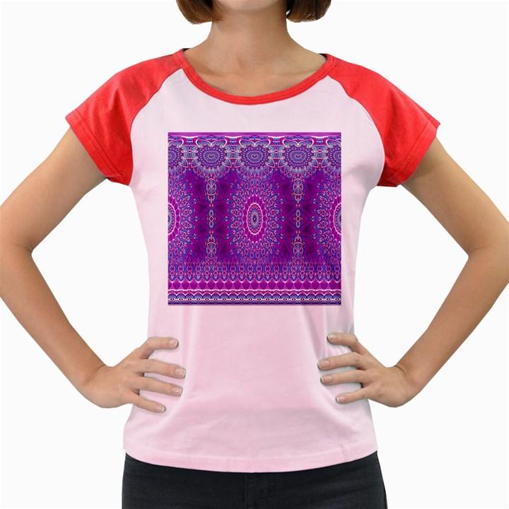 India Ornaments Mandala Pillar Blue Violet Women s Cap Sleeve T-Shirt