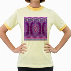 India Ornaments Mandala Pillar Blue Violet Women s Fitted Ringer T Shirts