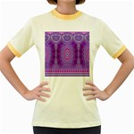 India Ornaments Mandala Pillar Blue Violet Women s Fitted Ringer T-Shirts Front