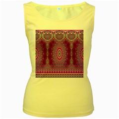 India Ornaments Mandala Pillar Blue Violet Women s Yellow Tank Top