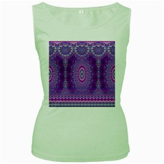 India Ornaments Mandala Pillar Blue Violet Women s Green Tank Top by EDDArt