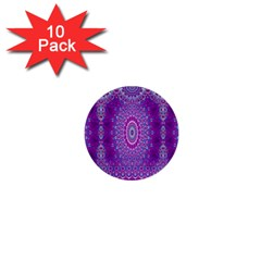 India Ornaments Mandala Pillar Blue Violet 1  Mini Buttons (10 Pack)  by EDDArt