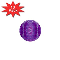 India Ornaments Mandala Pillar Blue Violet 1  Mini Magnet (10 Pack)  by EDDArt
