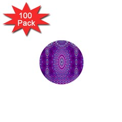 India Ornaments Mandala Pillar Blue Violet 1  Mini Buttons (100 Pack)  by EDDArt