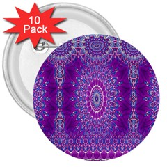 India Ornaments Mandala Pillar Blue Violet 3  Buttons (10 Pack)  by EDDArt