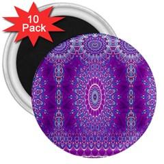 India Ornaments Mandala Pillar Blue Violet 3  Magnets (10 pack)