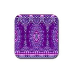 India Ornaments Mandala Pillar Blue Violet Rubber Coaster (square)  by EDDArt