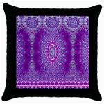 India Ornaments Mandala Pillar Blue Violet Throw Pillow Case (Black) Front
