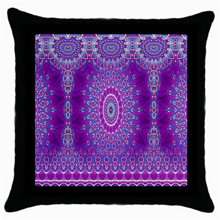 India Ornaments Mandala Pillar Blue Violet Throw Pillow Case (Black)