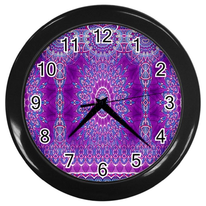India Ornaments Mandala Pillar Blue Violet Wall Clocks (Black)