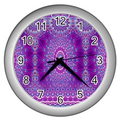 India Ornaments Mandala Pillar Blue Violet Wall Clocks (silver)  by EDDArt
