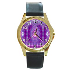 India Ornaments Mandala Pillar Blue Violet Round Gold Metal Watch