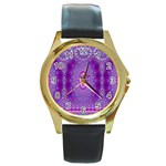 India Ornaments Mandala Pillar Blue Violet Round Gold Metal Watch Front