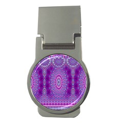 India Ornaments Mandala Pillar Blue Violet Money Clips (round)  by EDDArt