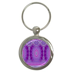 India Ornaments Mandala Pillar Blue Violet Key Chains (round)  by EDDArt