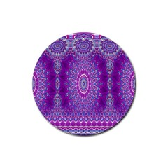 India Ornaments Mandala Pillar Blue Violet Rubber Round Coaster (4 Pack)  by EDDArt