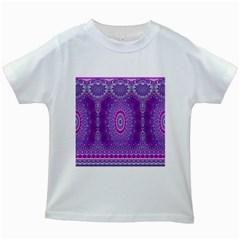 India Ornaments Mandala Pillar Blue Violet Kids White T-Shirts