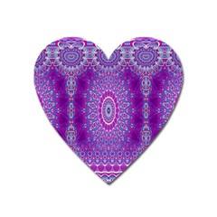 India Ornaments Mandala Pillar Blue Violet Heart Magnet