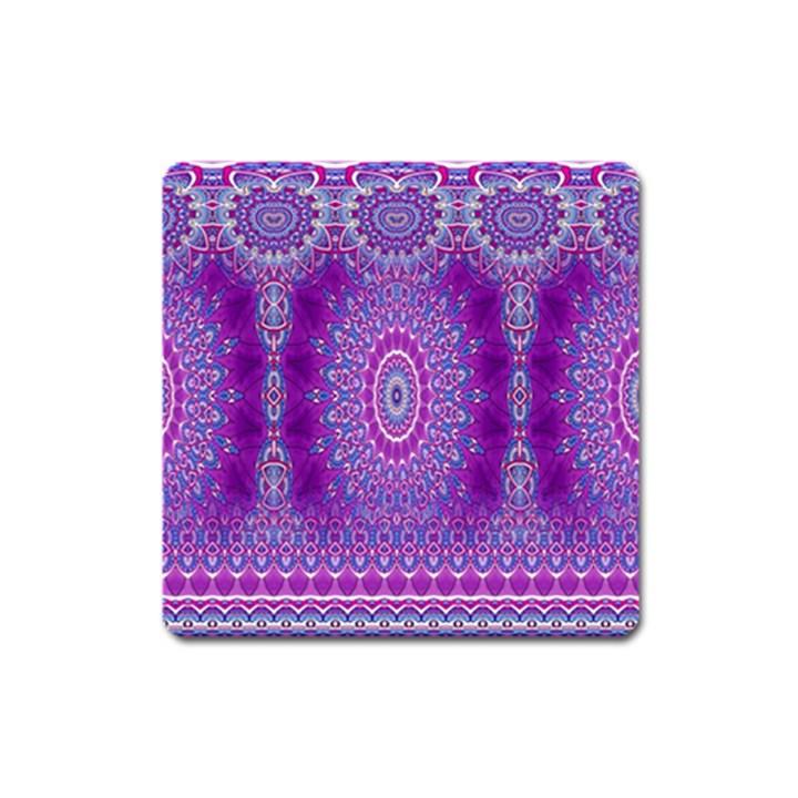 India Ornaments Mandala Pillar Blue Violet Square Magnet